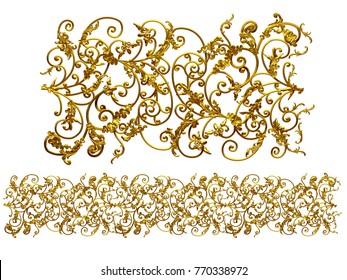 "golden, ornamental segment, ""wild"", straight version for frieze, frame or border. 3d illustration, separated on white"