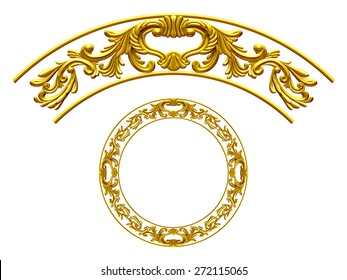 "golden ornamental segment, ""wings"", round version for corner or circle"