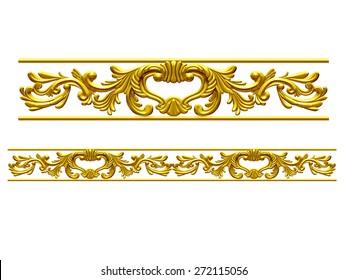 "golden ornamental segment, ""wings"", straight version for frieze, frame or border"