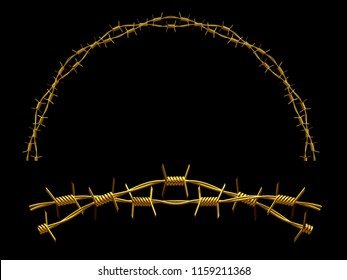 """golden ornamental segment, """"Barbed Wire"""", round version, fourty-five degree angle, for corner or circle, 3d Illustration, separated on black"""