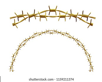 """golden ornamental segment, """"Barbed Wire"""", round version, fourty-five degree angle, for corner or circle, 3d Illustration, separated on white"""