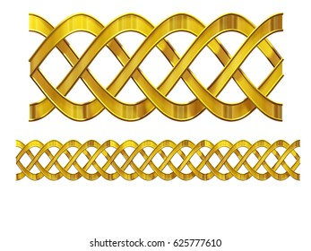 "golden, ornamental segment,""wadding"", straight version for frieze, frame or border. 3d illustration, separated on white"
