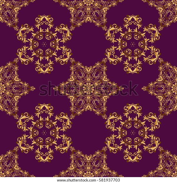 Golden ornate illustration for wallpaper. Ornamental lace tracery. Seamless pattern with floral ornament. Vintage golden elements in Eastern style. Traditional arabic decor on a purple background.