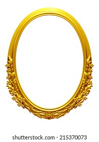 golden, oval frame with ornaments in gold for pictures or mirror