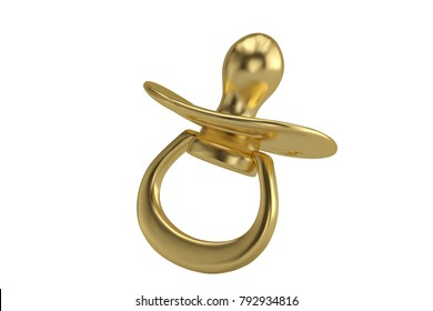 Golden pacifier on white background 3D illustration.