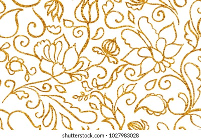 Golden paisley, flores, flowers, tulips, leaves isolated on white background. Gold shiny foil floral seamless pattern. Abstract indian print. Oriental traditional whimsical seamless border for design.