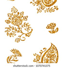 Golden paisley, flores, flowers, tulips, leaves on white background. Gold shiny foil floral seamless pattern. Abstract indian print. Oriental traditional whimsical seamless border for design.
