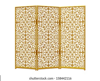 golden paravant or spanish wall, isolated on white