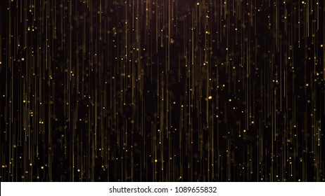 Golden Particles Rain Background. Golden Glitter Background