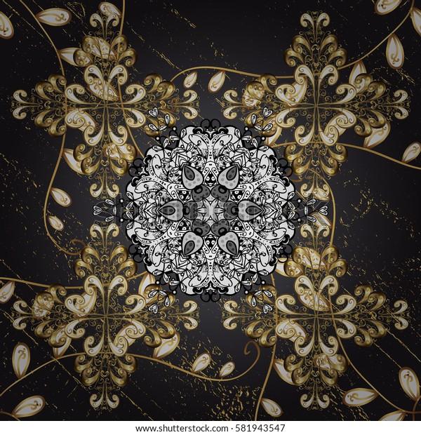 Golden pattern. Golden floral ornament brocade textile pattern, white doodles. Metal with floral pattern. Blue background with golden elements.