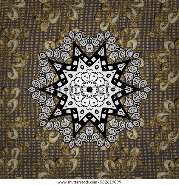 Golden pattern on gray background with golden elements. Oriental ornament. Traditional classic golden pattern. Oriental ornament in the style of baroque.