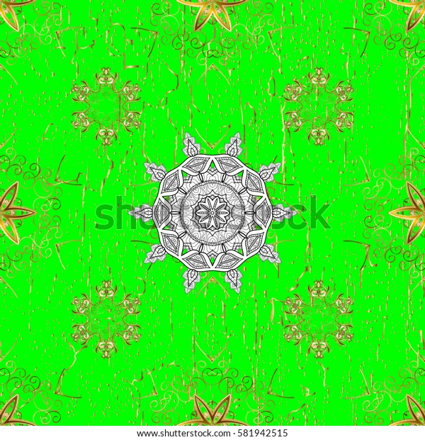 Golden pattern on green background with golden elements. Golden snowflake simple pattern. Symbol of winter, Merry Christmas holiday, Happy New Year 2018. Abstract wallpaper, wrapping decoration.