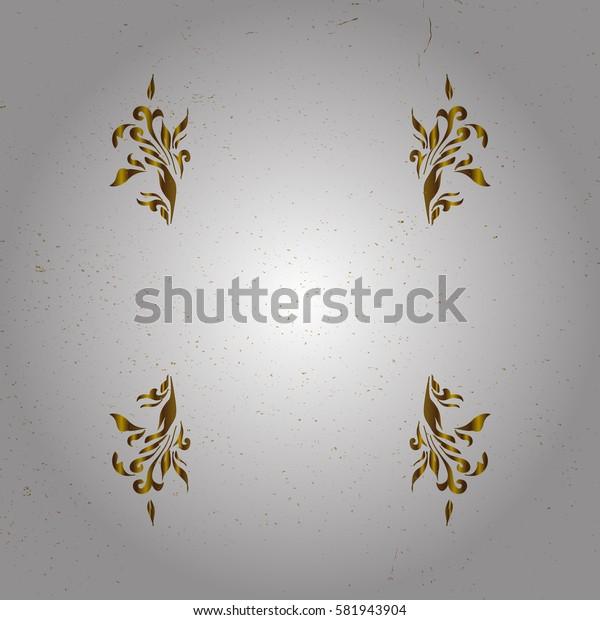 Golden pattern. Oriental ornament. Golden pattern on white background with golden elements.