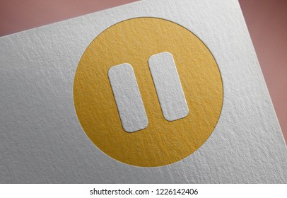 Golden Pause Icon 3D Illustration Symbol Write On The Paper. Pause Icon On The Paper. 3D Rendering.