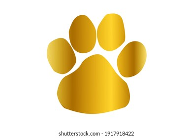 Golden paw print design on white background.