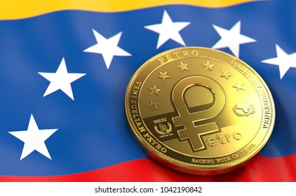 Golden Petro concept coin on Venezuelan flag. Petro - the cryptocurrency of Venezuela concept. 3D Rendering