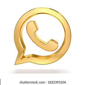 Golden phone icon in speech bubble isolated on white. 3D rendering