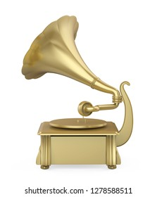 Golden Phonograph Isolated. 3D rendering