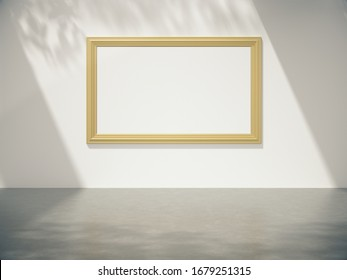 Golden picture frame hang on the wall with Trees shadow on the wall .3D rendering