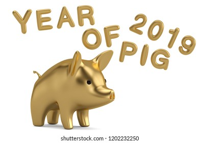 Golden pig design for chinese new year celebration year of pig 3D illustration.