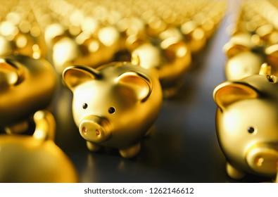 golden piggy bank. Saving money concept - 3D rendering