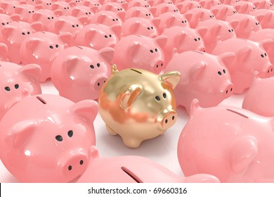 Golden piggy bank standing out from the others