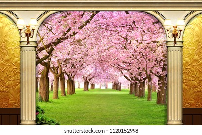 Golden and pink 3d background, golden columns, spring, alley with spring flowering trees and grass