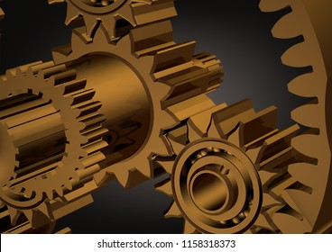 Golden planetary gear on a black background. 3D rendering