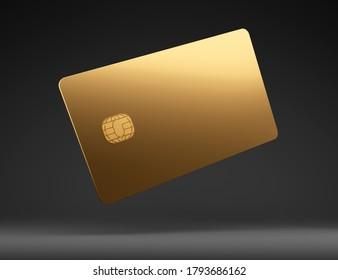 Golden plastic credit card mockup, dark black background,3D Illustration