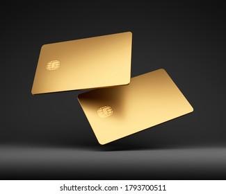 Golden plastic credit cards mockup, dark black background, 3D Illustration