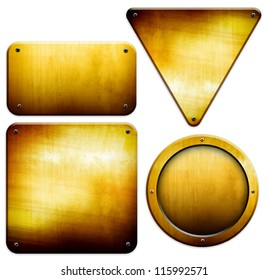 golden plate set (isolated with clipping path)
