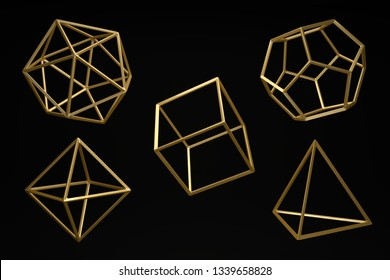Golden Platonic solids on a dark black background. Dodecahedron, icosahedron, tetrahedron, octahedron, hexahedron.Abstract 3d ,  Minimalist design for poster, cover, branding, banner, placard.