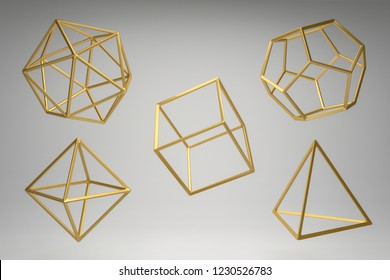 Golden Platonic solids on a grey background.Dodecahedron, icosahedron, tetrahedron, octahedron, hexahedron.Abstract photorealistic 3d ,  Minimalist design for poster, cover, branding, banner, placard.