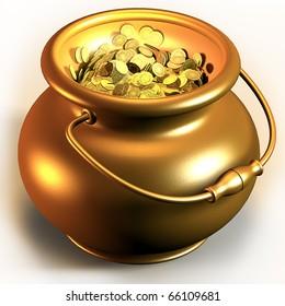 Golden pot full of gold coins 3d render