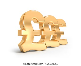 Golden Pound Sterling signs in a row on the white background.