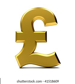 Golden pound symbol isolated over a white background