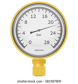 Golden pressure gauge on a white background
