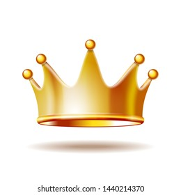 Golden princess crown isolated on white background. 3D  illustration