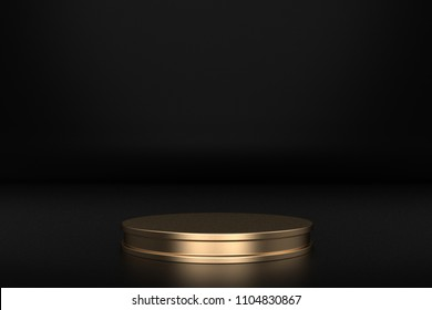 Golden Product stage 3D rendering