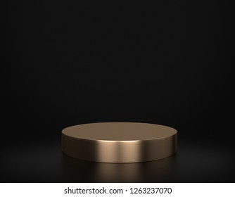 Golden Product Stand on Black. 3D Rendering