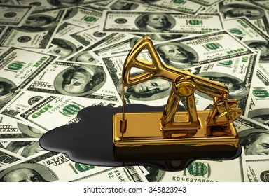 Golden Pumpjack And Spilled Oil On The Dollars. 3D Scene.