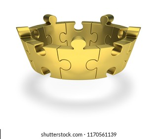 Golden puzzle crown. 3d image. White background.