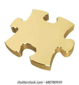 Golden puzzle. Isolated on white background. 3D illustration