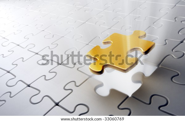 Golden puzzle piece