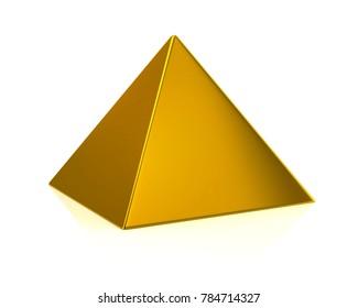 Golden pyramid 3d illustration on white background