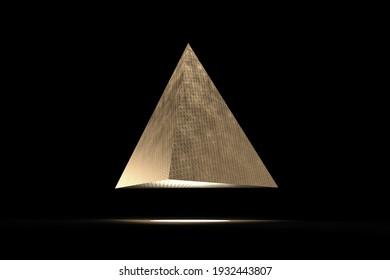 Golden pyramid floating in a black room. High resolution 3D illustration.