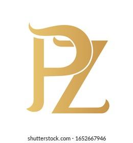 Golden PZ monogram isolated in white.