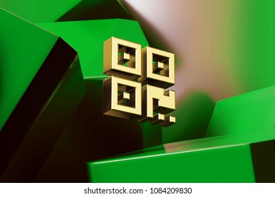 Golden Qrcode Icon With the Green Glossy Boxes. 3D Illustration of Fine Golden Barcode, Code, Qr, Qrcode, Quick Response, Scan Icon Set on the Green Geometric Background.