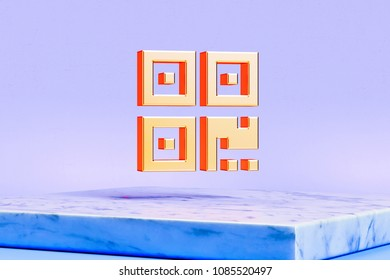 Golden Qrcode Icon on the Blue Background. 3D Illustration of Golden Barcode, Code, Qr, Qrcode, Quick Response, Scan Icons in the Blue Light With White Marble Box.
