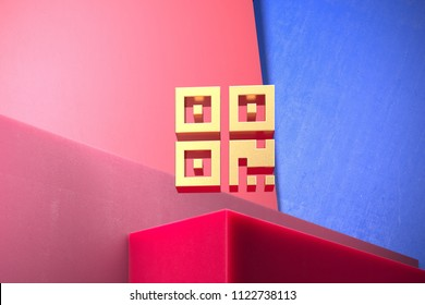 Golden Qrcode Icon on the Blue and Pink Geometric Background. 3D Illustration of Gold Barcode, Code, Qr, Qrcode, Quick Response, Scan Icon Set With Color Boxes on Pink Background.